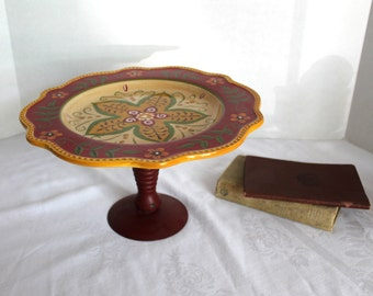 Serving Pedestal Floral with Red Metal Base Cake Stand Buffet Style