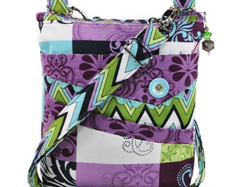 Small Crossbody Bag Purple Green Teal Navy Patchwork
