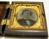 Price Reduced Civil War Tin Type Photo in hinged Gutta Percha Case c. 1860's