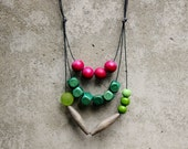 Layer geometric statement necklace, emerald, lime green, mulberry, grey, wooden bead necklace, boho.