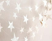 stars garland, christmas garland, birthday party decoration, winter home decor, book paper winter holiday decoration, handmade - AntnFrog