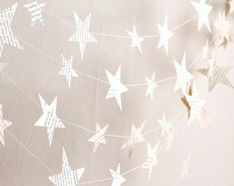 paper stars garland, book paper stars birthday party decor, Christmas garland, book paper garland, nursery decor, holiday garland