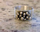 Custom Listing-Lots of Gold Dots Sterling Silver Ring