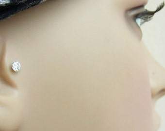 Stunning 4mm AAA Cubic Zirconia push in 16gauge bio flexible Tragus / lip labret / cartilage / helix piercing