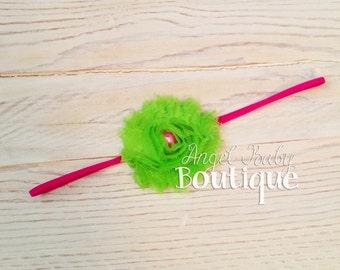Pink and Lime Single Shabby Headband - Baby, Toddler, Child -Headband