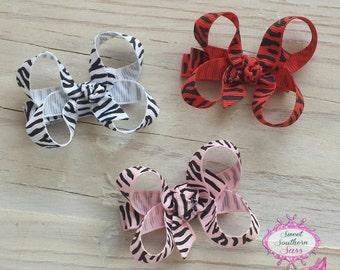 Zebra Print Baby Boutique Bows