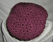 Ladies Purple Crocheted Slouchy Beanie Hat