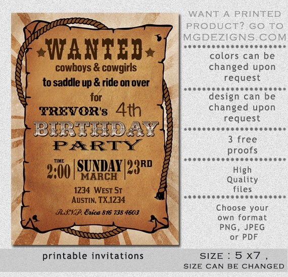 printable rustic western wanted poster birthday invitation. Black Bedroom Furniture Sets. Home Design Ideas