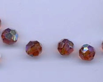 12 vintage Czech round faceted crystals - 10 mm madeira topaz AB