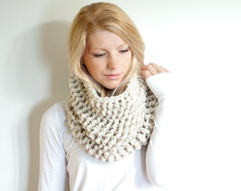 the BARNWELL cowl - The Chunky Cowl Neckwarmer  Scarf - wheat - Wool Blend