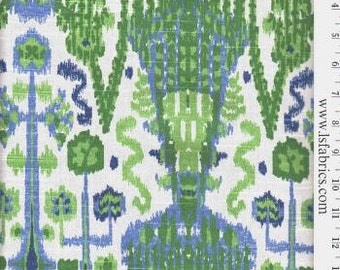Kelly Green, Blue and White Ikat Pillow Covers / Designer Custom Drapery in Bombay Kelly