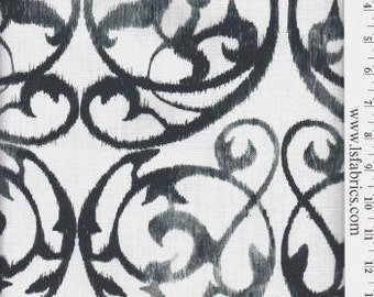 Black and White Scroll Curtain Panels / Designer Custom Drapery in Front Gate Black