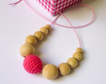 SALE 50%-Organic Cotton Nursing Necklace/Teething Necklace-Breastfeeding Necklace-Mother's day