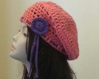 Crocheted Beret Hat - Boho - Beret Hat - Beret - Slouch Hat - FREE UK DELIVERY