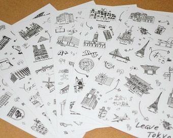 Scenic Spots Sticker Set Hand Sketch, Buildings, Landmarks,Transparent Stickers - 6 Sheets