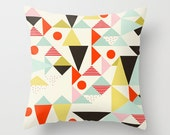 Geometric Pillow, Abstract Art Throw Pillow, Modern Art Pillow Cover, Red Mint Yellow Modern Art, Circles, Triangles, Black Triangles