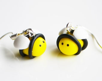 Bumble Bee Earrings, Fimo, Polymer Clay