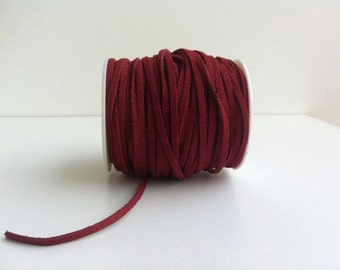 2 meters(2.2 yards)  burgundy suede cords,faux suede cord, Necklace Bracelet suede cord,jewelry material,Jewelry Suede Cord Lace, 3 mm wide
