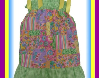 CLEARANCE Colorful Spring Boutique Pillowcase Dress w/ Green/White Checkered Layers Sizes Toddler & Girls