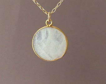 Gold White Moonstone Circle Necklace Long or Short