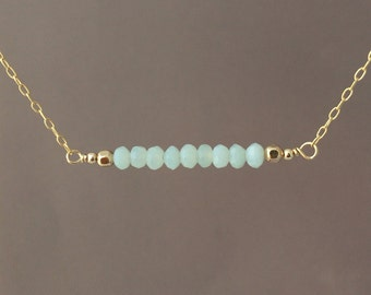Straight Bar Teal Amazonite Beaded Necklace Gold Rose Gold or Silver