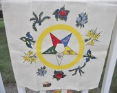 Vintage Linen Dish Towel Kitchen Tea Towel Kay Dee Handprints Order of the Eastern Star