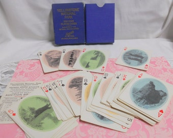 Antique Playing Cards Yellowstone National Park Souvenir Card Deck J. E. Haynes Vintage Photography Navy Blue Gold