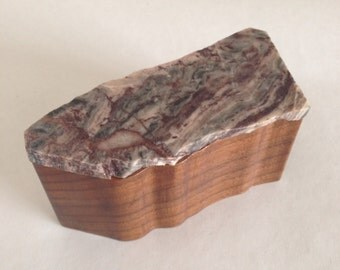 Wooden Box with Stone Lid - Purple, Gray and Cream