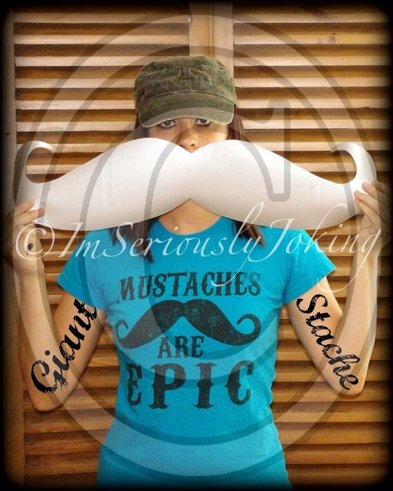 Mustache Sticker-Giant Mustache Vinyl Decal - The Handlebar - SILVER decal- Car decal- Mustache sticker- Handlebar Mustache