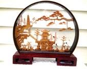 Vintage Gorgeous Asian Styled Cork DIORAMA - PAGODA - Shadow BOX - Birds - Wooden Box - Home Decor