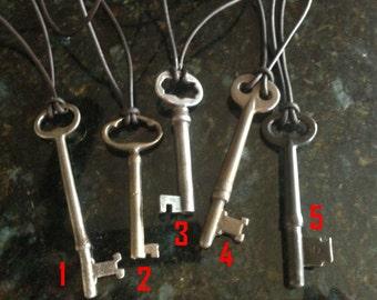OOAK Vintage Skeleton Key Necklace on Leather Cordage