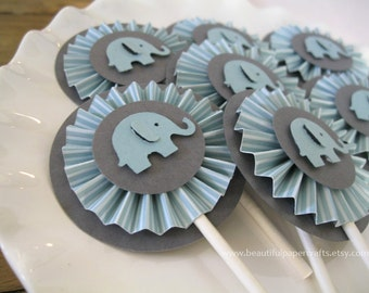 Ice Blue and Gray Baby Elephant Rosettes Cupcake Toppers- Elephant Baby Shower Decorations..Set of 12