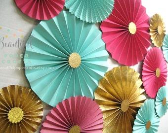 12pc Hot Pink Aqua and Gold Glitter Rosettes   Paper Fans Wedding  Paper Fan Backdrop Decor  Paper Rosettes  Gold Paper Fans  Birthday Decor