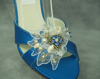 Wedding Sapphire blue Shoes 2 1/2 inches heel with white blue appliqué, Seashells, Mermaid Wedding, Nautical Theme,Beach Wedding,Cruise Wear