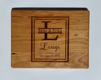PERSONALIZED CUTTING BOARD / Establishment Monogram cutting board Carved from Cherry