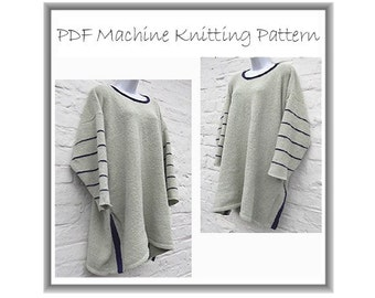 Machine knitting pattern. Big, baggy tunic, lagenlook style asymmetric hem top sweater  32 - 50 inch bust