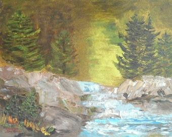 Vintage Original Signed Art Painting Forest River Landscape Scene - Ready to Frame 12 x 16