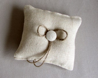 parchment almost square Burlap Ring Pillow with button