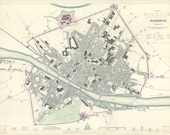 Florence 1844. Antique City Map of Florence, Italy. Published by SDUK - MAP PRINT
