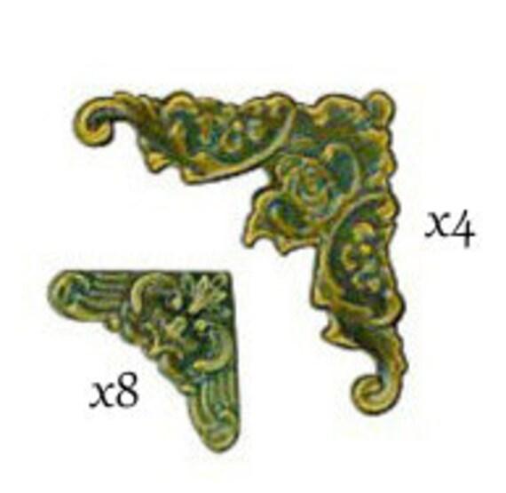 7gypsies - Antique Brass Display Trim Corners (4 Large Corners and 8 Small Corners)
