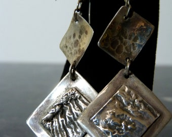 SALE Vintage Silver Diamond Shaped Modern Design Hanging Earrings