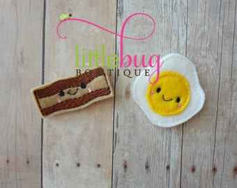 BACON AND EGGS Wool Felt Hair Clips for Newborns, Girls, Toddlers, Teen and Babies
