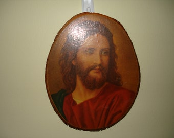Vintage Jesus plaque on thick wooden panel