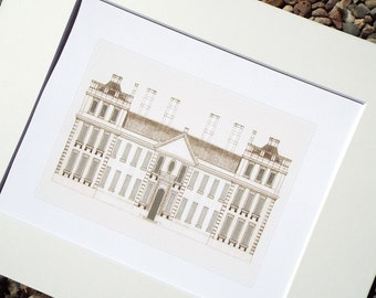 Architectural Drawing Building with 2 Towers Archival Print