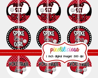 Bottle Cap Image Sheet - Instant Download - Volleyball Rocks in Red -  1 Inch Digital Collage - Buy 2 Get 1 Free