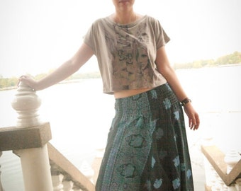 Thai  Pants in Cotton, Black w Blue Elephant Print