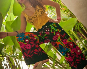 Thai pants, Cotton, Black with multicolor Butterfly and Flower print