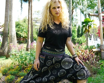 Thai Tribe pants, Cotton, Hmong Hill Tribe Style, Black w Grey pattern and colored details