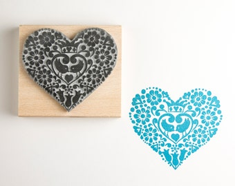 Wedding Rubber Stamp Two Birds Heart