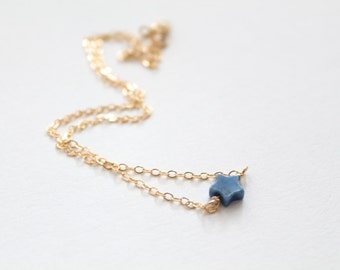 Gold star choker - tiny delicate gold filled chain - blue natural star stone - minimalist simple jewelry by fildee